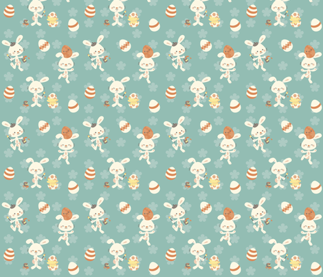 Easter bunnies fabric by macywong on Spoonflower - custom fabric