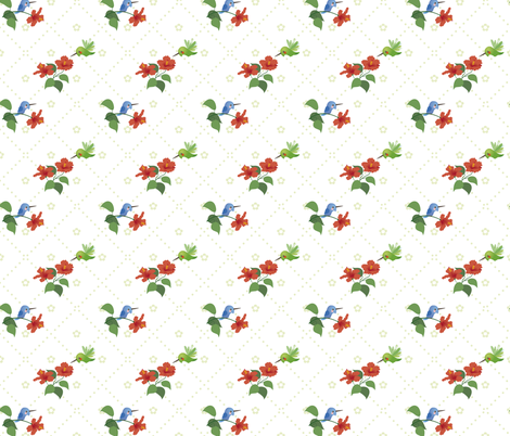 Hummingbirds hibiscus fabric by macywong on Spoonflower - custom fabric