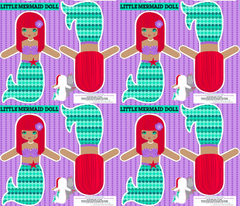 red mermaid softie doll- cut and sew pattern fabric by katarina on Spoonflower - custom fabric