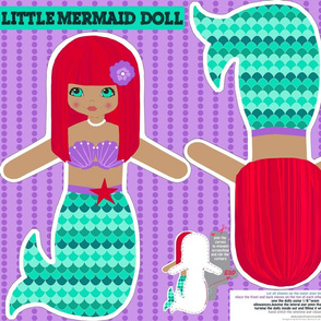 red mermaid softie doll- cut and sew pattern