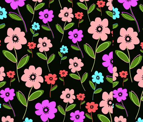Retro Florals fabric by tomhaggerty on Spoonflower - custom fabric
