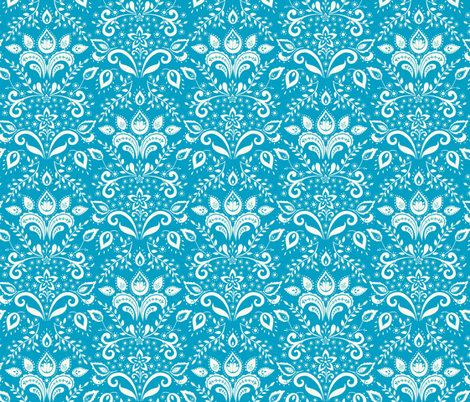 cream___teal_damask fabric by kayajoy on Spoonflower - custom fabric