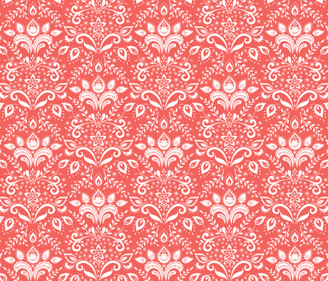 coral damask fabric by kayajoy on Spoonflower - custom fabric
