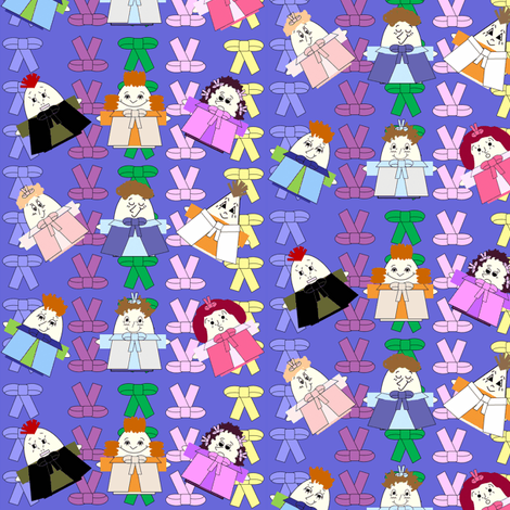 Hawk Family With Bows Blue Background Fabric fabric by lworiginals on Spoonflower - custom fabric