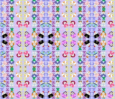 Hawk Family With Bows Blue Background 2 Fabric fabric by lworiginals on Spoonflower - custom fabric