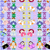 Hawk Family With Bows Blue Background 2 Fabric