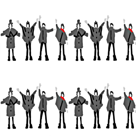 Beatles Help Black and White with Red Scarf fabric by andybee on Spoonflower - custom fabric
