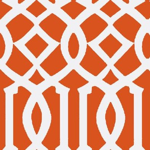 Imperial Trellis Dark Orange/White-Large
