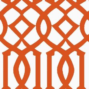 Imperial Trellis-Dark Orange/White-Reverse-Large