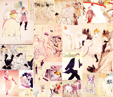 Toulouse Lautrec Sketches fabric by hollycejeffriess on Spoonflower - custom fabric