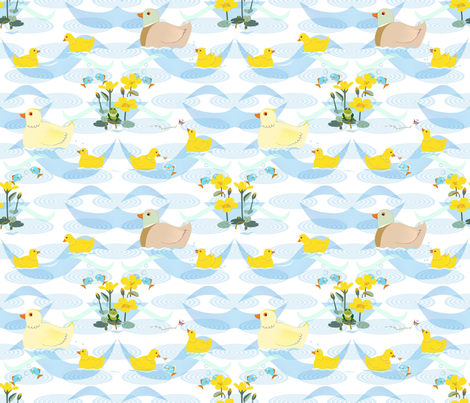 All the ducklings are swimming in the water..... fabric by alfabesi on Spoonflower - custom fabric
