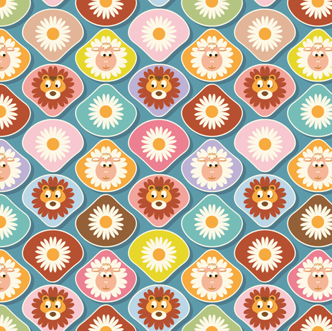 Lions and lambs fabric by cassiopee on Spoonflower - custom fabric