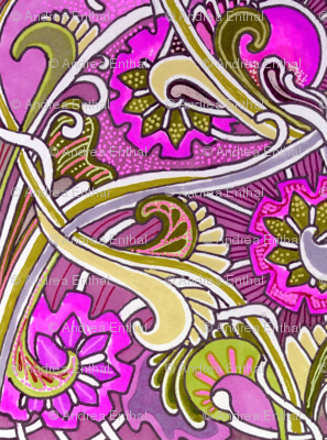 Raspberry Romance (an art nouveau abstract)