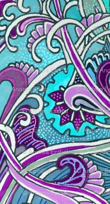 Aqua and Purple Heart, Scallop, and Paisley Waltz