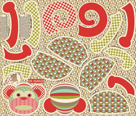 Mr. Marbles the Monkey  fabric by mag-o on Spoonflower - custom fabric