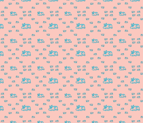 Bunnies (Pink) fabric by ravynscache on Spoonflower - custom fabric