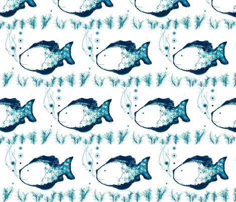 Placid Bubbles  (blue and navy) fabric by vanillabeandesigns on Spoonflower - custom fabric