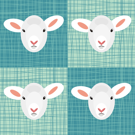 Aqua Lamb fabric by smuk on Spoonflower - custom fabric