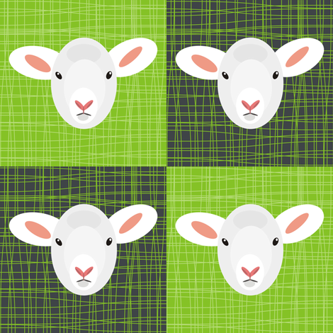 Lambs on Green Grass fabric by pennyroyal on Spoonflower - custom fabric