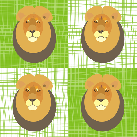 Lion Lying on Grass fabric by smuk on Spoonflower - custom fabric