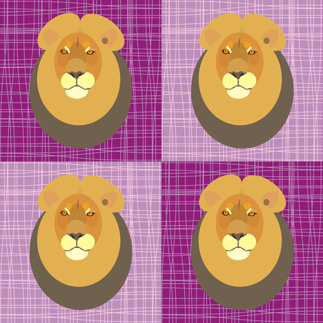 Lion Burple fabric by smuk on Spoonflower - custom fabric