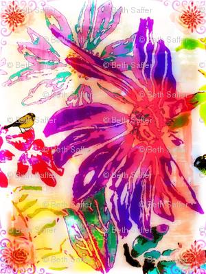 Finch on Flowers