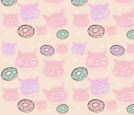 fabric: cat doughnuts - pastel (smaller scale)  fabric by hotdogjenny on Spoonflower - custom fabric