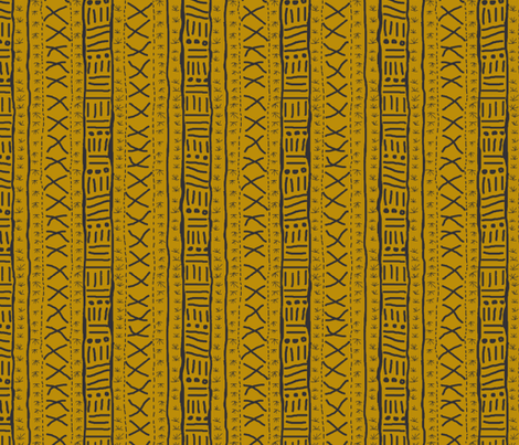 Mudcloth Inspired - gold with charcoal fabric by maplewooddesignstudio on Spoonflower - custom fabric