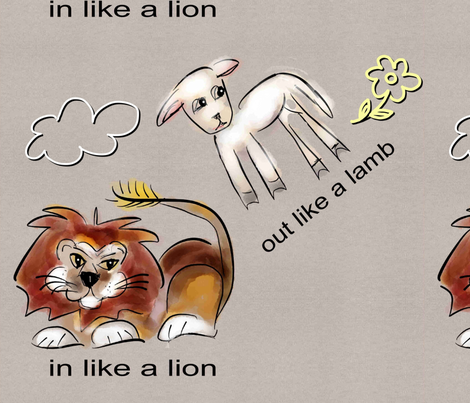 in like a lion out like a lamb on grey neutral fabric by just_victoria on Spoonflower - custom fabric
