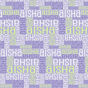 Personalised Name Fabric - Purple Green