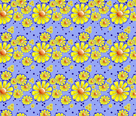 Bring On The Sunshine in Yellow and Blue fabric by miraculousmosquito on Spoonflower - custom fabric