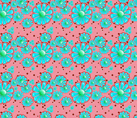 Bring On The Sunshine in Turquoise and Strawberry fabric by miraculousmosquito on Spoonflower - custom fabric
