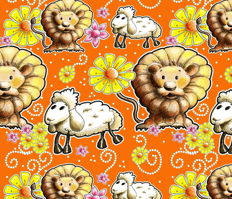 Lion and Lamb with Orange Background fabric by miraculousmosquito on Spoonflower - custom fabric