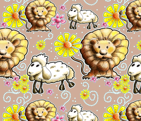 Lion and Lamb with Light Brown Background fabric by miraculousmosquito on Spoonflower - custom fabric