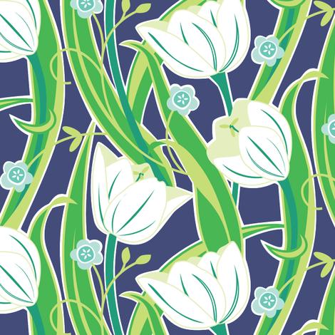 Tulip Friends navy fabric by jillbyers on Spoonflower - custom fabric