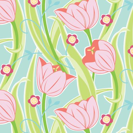 Tulip Friends  fabric by jillbyers on Spoonflower - custom fabric