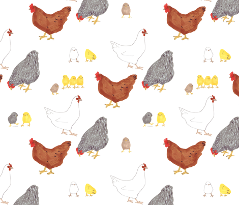 Happy Easter Chickens fabric by jo_clark on Spoonflower - custom fabric