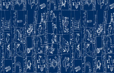 Prehistoric Journey-Dark Blue/White fabric by iliketodraw on Spoonflower - custom fabric