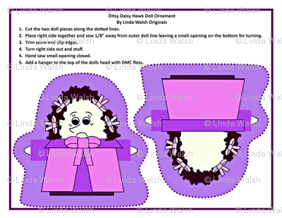 Ditsy Daisy Hawk Cut and Sew Doll Ornament