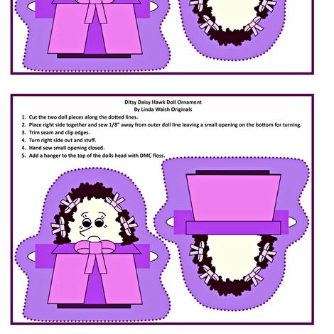 Ditsy Daisy Hawk Cut and Sew Doll Ornament fabric by lworiginals on Spoonflower - custom fabric