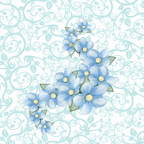 baby blue flowers fabric by krs_expressions on Spoonflower - custom fabric