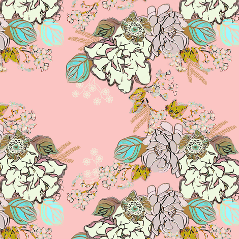 Retro Gardenia floral on pink fabric by joanmclemore on Spoonflower - custom fabric