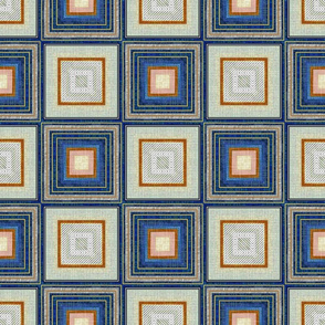 Checkmate in blue and faux linen