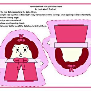 Henrietta Hawk Cut and Sew Doll Ornament