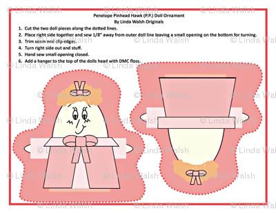 Penelope Pinhead Hawk Cut and Sew Doll Ornament