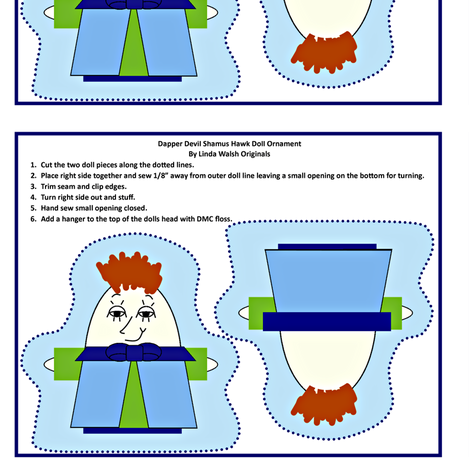 Dapper Devil Shamus Hawk Cut and Sew Doll Ornament fabric by lworiginals on Spoonflower - custom fabric