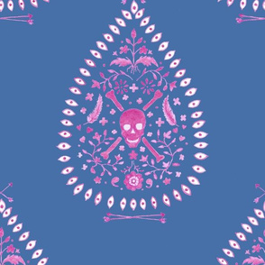 Large Paisley is Dead in Raspberry on blue