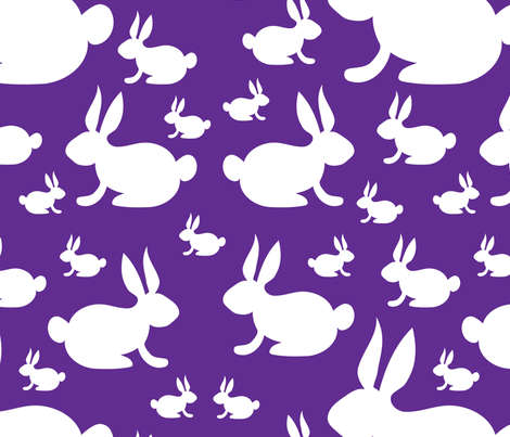 Bunny Rabbits on Purple Background fabric by lesrubadesigns on Spoonflower - custom fabric