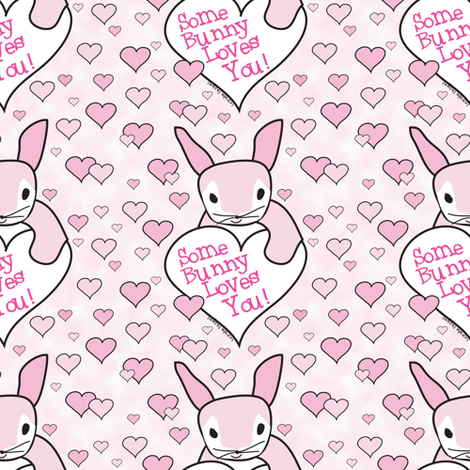 Pink Some Bunny Loves You fabric by lesrubadesigns on Spoonflower - custom fabric