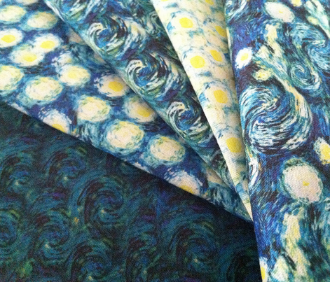 Starry night van gogh sky only small version fabric for Starry sky fabric